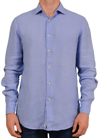 BRIAN&BARRY Milano Solid Light Blue Pure Linen Summer Shirt L Slim Fit 52 - SARTORIALE - 1