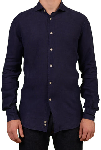 BRIAN&BARRY Milano Solid Navy Blue Pure Linen Summer Shirt US L EU 52 - SARTORIALE - 1