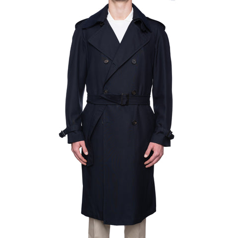 BRIONI Navy Blue Silk DB Belted Classic Trench Rain Coat NEW Size L 52