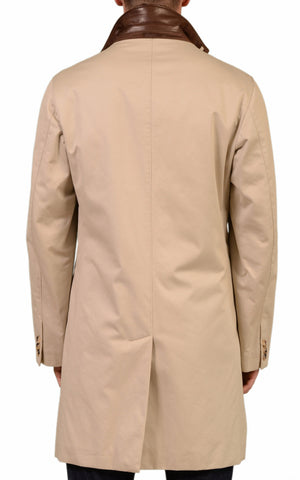 BRIONI Solid Beige Cotton-Silk Loro PIana Storm System Rain Coat EU 50 NEW US 40 - SARTORIALE - 3