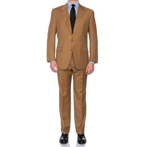 "BRIONI ""COLONNA"" For CERIELLO Handmade Dark Beige Wool Suit EU 56 NEW US 46"