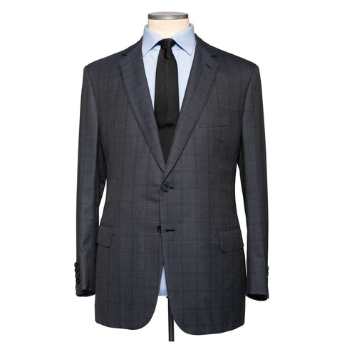 "BRIONI ""COLOSSEO"" Handmade Blue Plaid Wool-Silk Suit EU 60 NEW US 50"