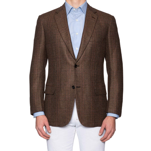 "BRIONI ""COLOSSEO"" Handmade Brown Plaid Cashmere Jacket EU 52 NEW US 42"