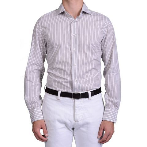 BRIONI Gray Striped Cotton Dress Shirt EU 41 US 16