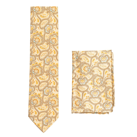 BRIONI Handmade Beige Floral Paisley Silk Tie Pocket Square Set NEW