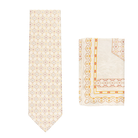 BRIONI Handmade Beige Foulard Silk Tie Pocket Square Set NEW