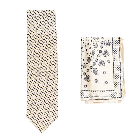 BRIONI Handmade Beige Macro-design Silk Tie Pocket Square Set NEW