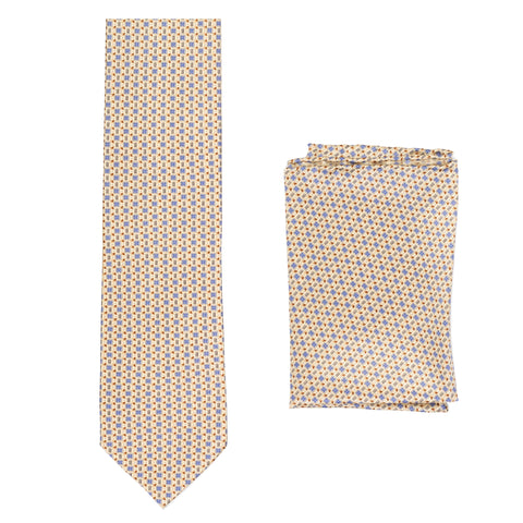 BRIONI Handmade Beige Micro-Design Foulard Silk Tie Pocket Square Set NEW
