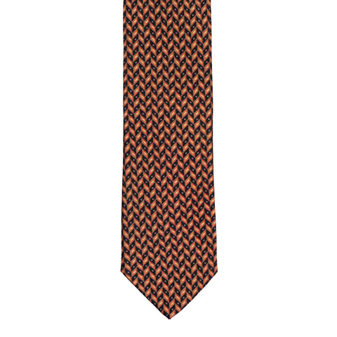 BRIONI Handmade Black-Orange Geometric Macro-design Silk Tie NEW