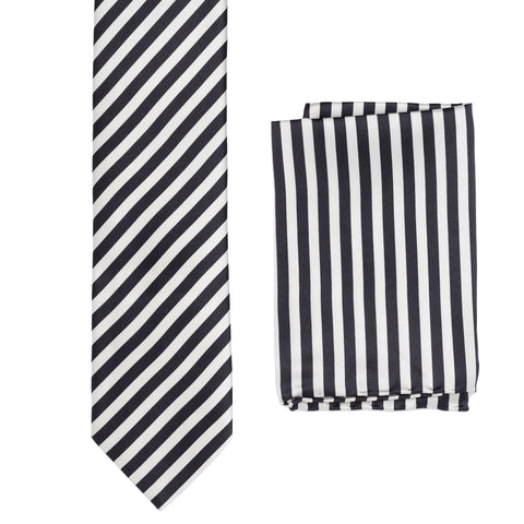 BRIONI Handmade Black-Silver Striped Silk Tie Pocket Square Set NEW