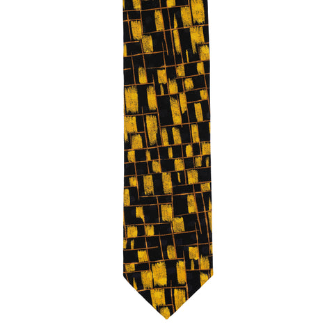 BRIONI Handmade Black-Yellow Abstract Jacquard Silk Tie NEW