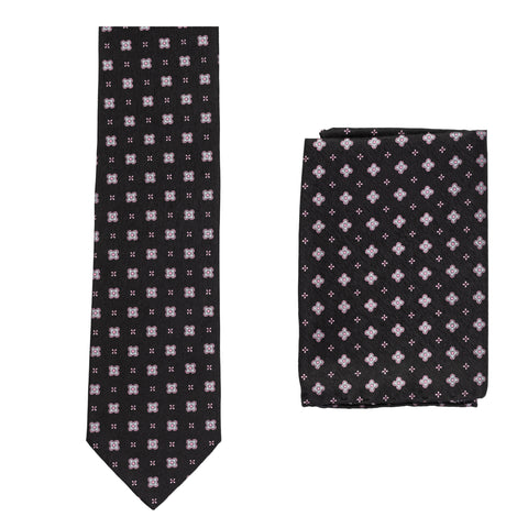 BRIONI Handmade Black Floral Silk Tie Pocket Square Set NEW