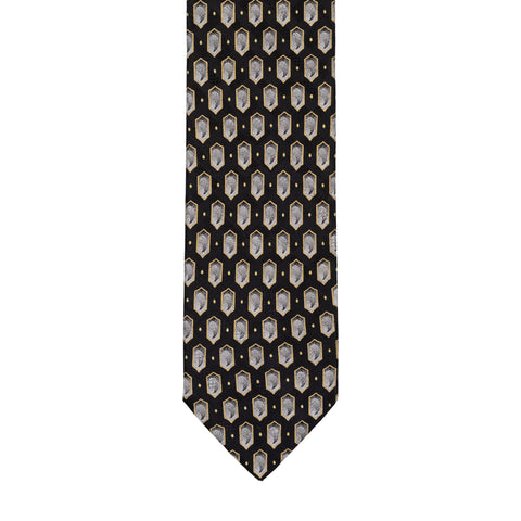 BRIONI Handmade Black Medallion Silk Tie NEW