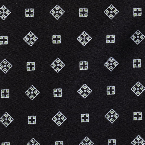 BRIONI Handmade Black Square Medallion Silk Tie NEW