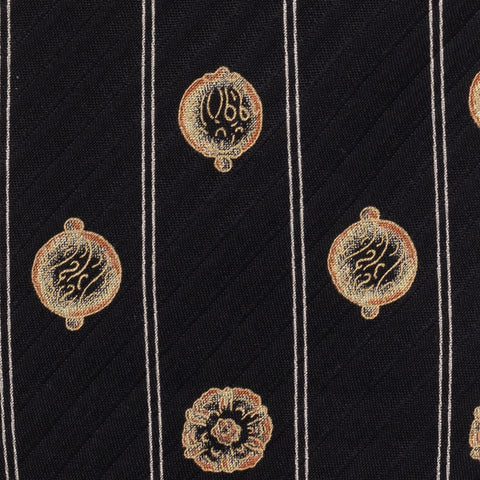 BRIONI Handmade Black Striped Medallion Silk Tie Pocket Square Set NEW