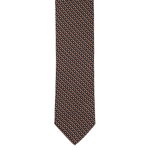 BRIONI Handmade Black Textured Micro-design Silk Tie NEW