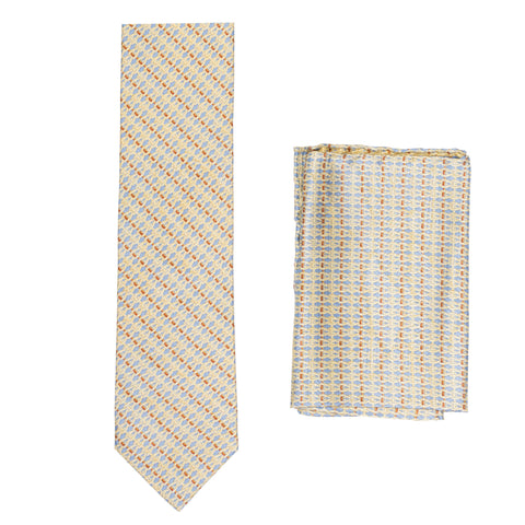 BRIONI Handmade Blue-Beige Chain-Design Silk Tie Pocket Square Set NEW