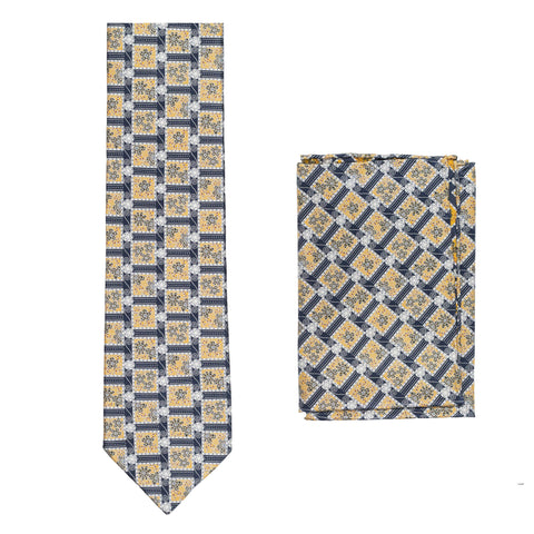 BRIONI Handmade Blue-Yellow Floral Silk Tie Pocket Square Set NEW
