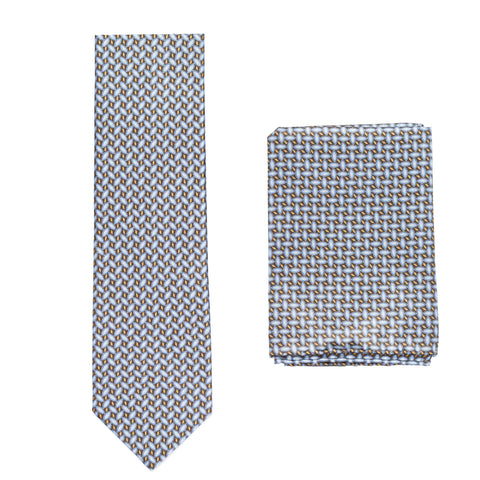 BRIONI Handmade Blue-Brown Foulard Silk Tie Pocket Square Set NEW