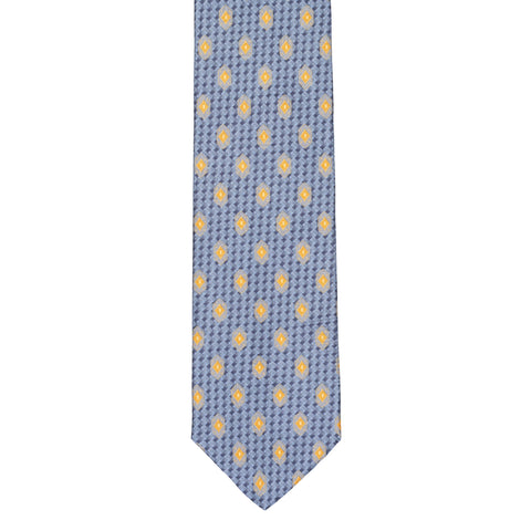 BRIONI Handmade Blue-Gray Micro-design Medallion Silk Tie NEW