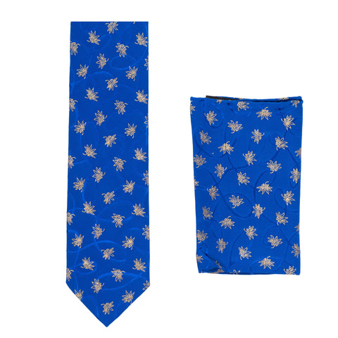 BRIONI Handmade Blue Floral Silk Tie Pocket Square Set NEW