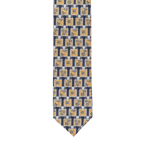 BRIONI Handmade Blue Floral Square Medallion Silk Tie NEW