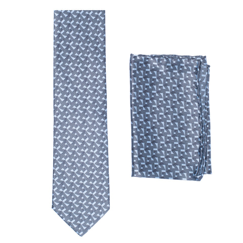 BRIONI Handmade Blue Geometric Pattern Silk Tie Pocket Square Set NEW