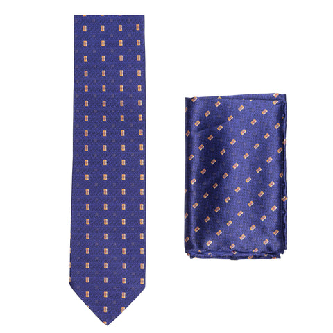 BRIONI Handmade Blue Micro-Design Silk Tie Pocket Square Set NEW