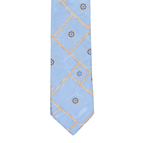 BRIONI Handmade Blue Plaid Medallion Camouflage Silk Tie NEW