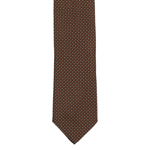 BRIONI Handmade Brown Geometric Micro-design Silk Tie NEW