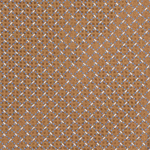 BRIONI Handmade Brown Micro-Design Foulard Silk Tie Pocket Square Set NEW