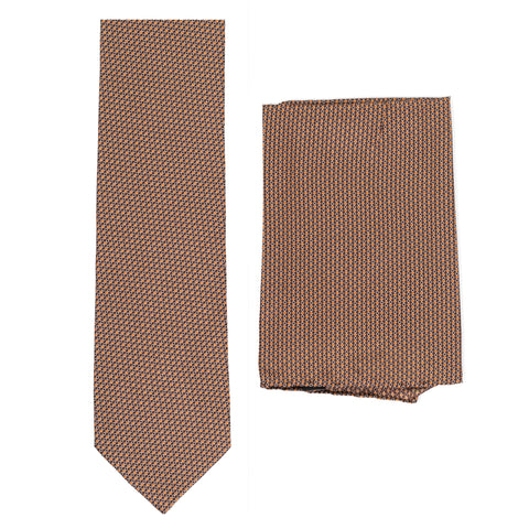 BRIONI Handmade Brown Micro-Design Silk Tie Pocket Square Set NEW