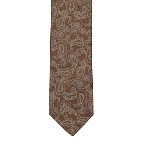 BRIONI Handmade Brown Paisley Silk Tie NEW