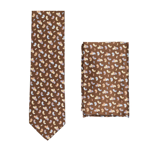 BRIONI Handmade Brown Paisley Silk Tie Pocket Square Set NEW