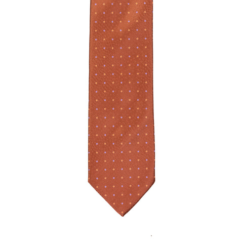BRIONI Handmade Brown Pin Dot Silk Tie NEW
