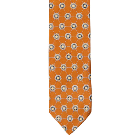 BRIONI Handmade Burnt Orange Floral Medallion Silk Tie NEW