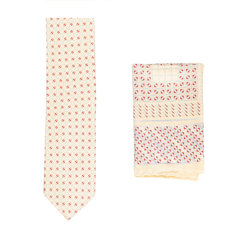 BRIONI Handmade Cream Foulard Silk Tie Pocket Square Set NEW