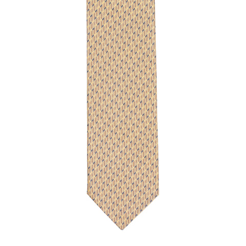 BRIONI Handmade Cream Geometric Micro-design Silk Tie NEW