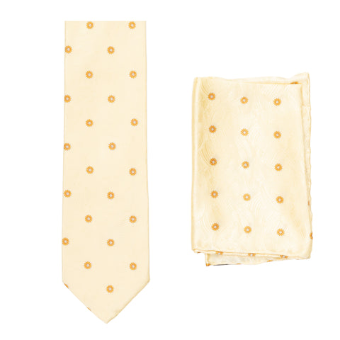 BRIONI Handmade Cream Textured Medallion Silk Tie Pocket Square Set NEW