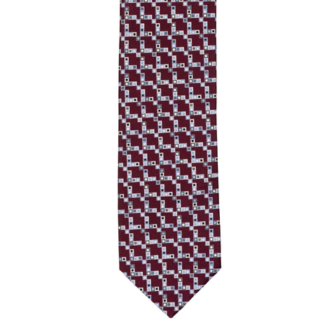 BRIONI Handmade Crimson Geometric Micro-design Silk Tie NEW