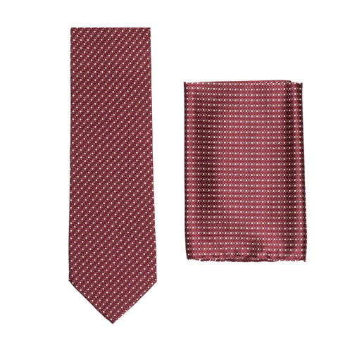 BRIONI Handmade Burgundy Micro-Design Silk Tie Pocket Square Set NEW