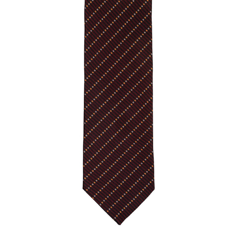 BRIONI Handmade Burgundy Micro-design Striped Silk Tie NEW