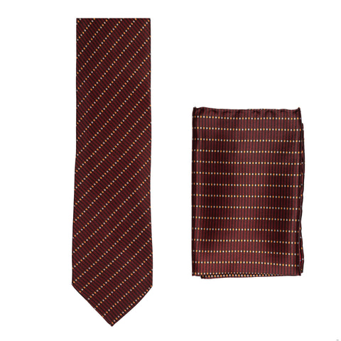 BRIONI Handmade Burgundy Striped Silk Tie Pocket Square Set NEW
