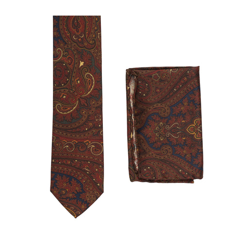 BRIONI Handmade Burgundy Textured Paisley Silk Tie Pocket Square Set NEW