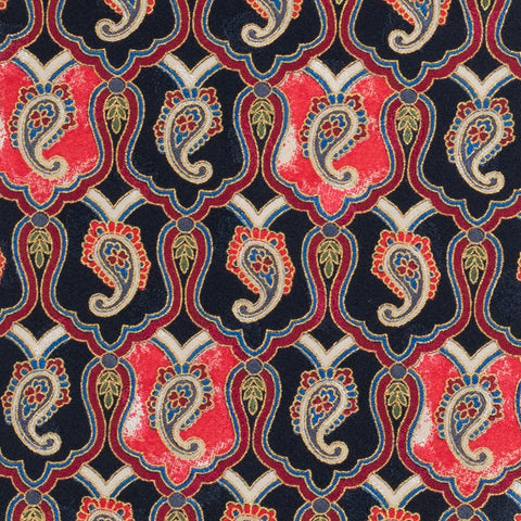 BRIONI Handmade Dark Blue-Red Paisley Silk Tie Pocket Square Set NEW