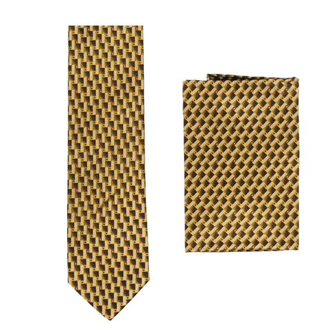 BRIONI Handmade Gold Macro-Design Silk Tie Pocket Square Set NEW