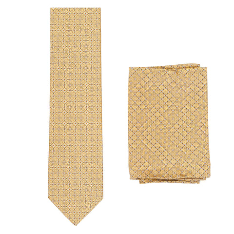 BRIONI Handmade Gold Micro-Design Silk Tie Pocket Square Set NEW