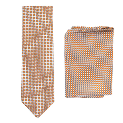 BRIONI Handmade Multicolor Geometric Micro-design Silk Tie Pocket Square Set NEW