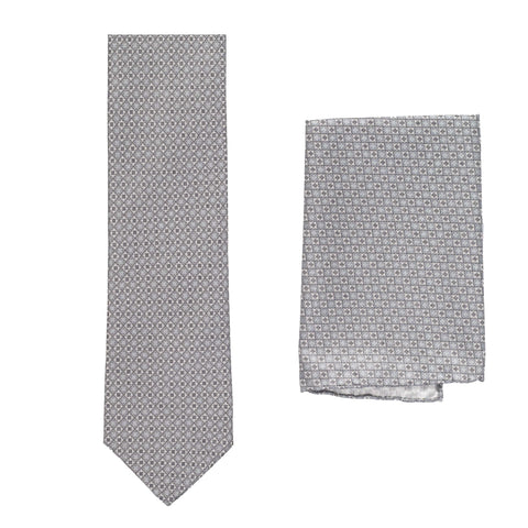 BRIONI Handmade Gray Floral Square Micro-design Silk Tie Pocket Square Set NEW