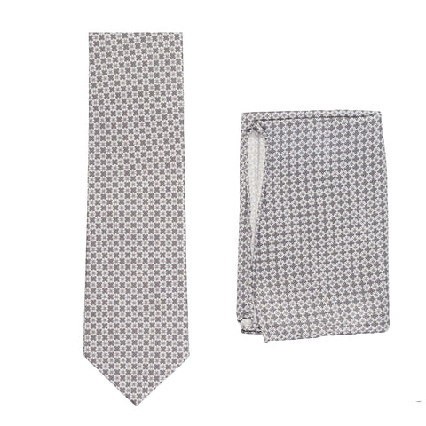 BRIONI Handmade Gray Geometric Micro-design Silk Tie Pocket Square Set NEW
